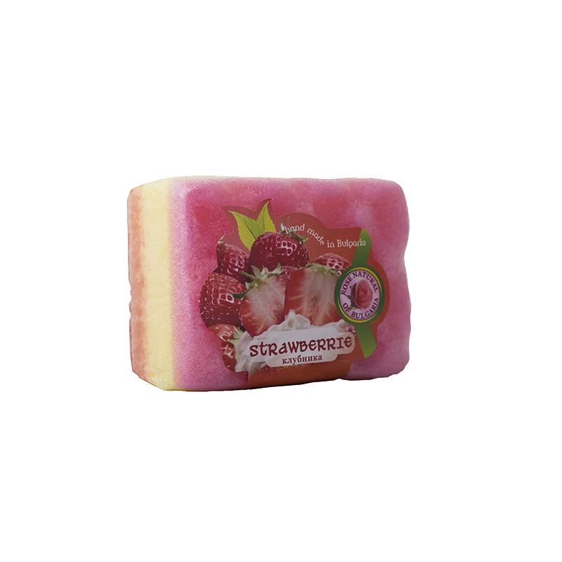 Peelingujące mydło-gąbka Truskawka