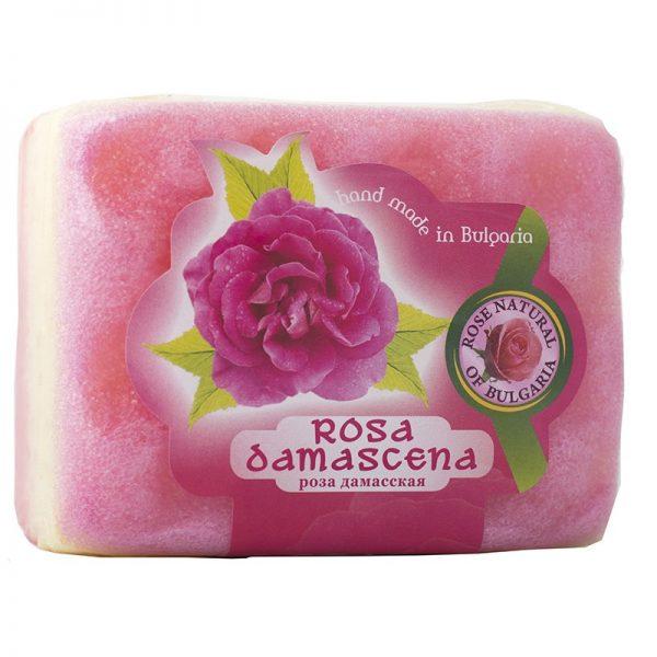 Peelingujące mydło-gabka Róża